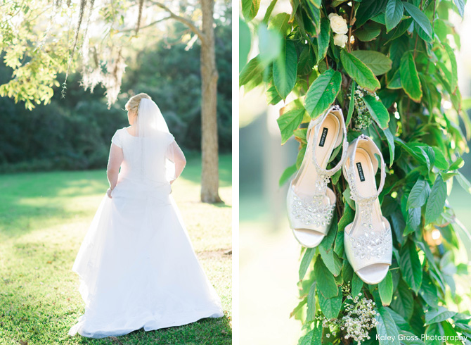 Bride Standing Next To Shoes On Tree