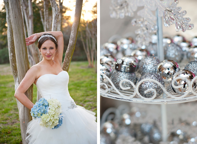 Bride With Flowers Leaning Against Tree Next To Sparkling Decorations