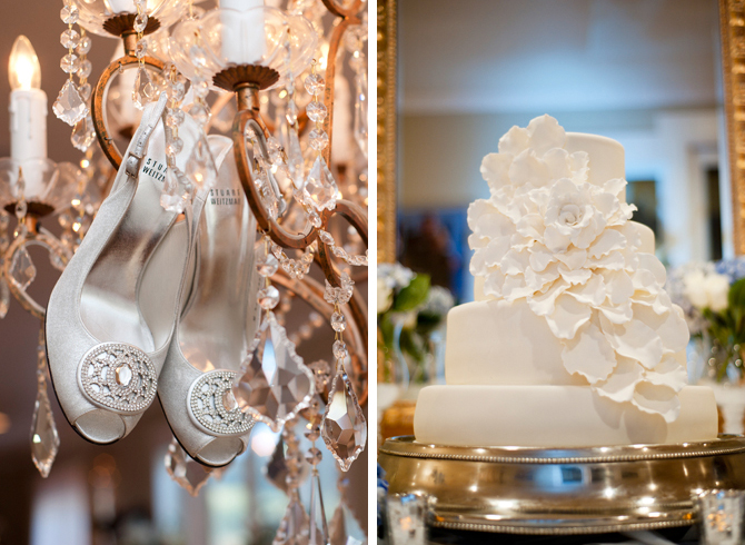 Shoes Hanging From Chandelier Next To Fancy Wedding Cake