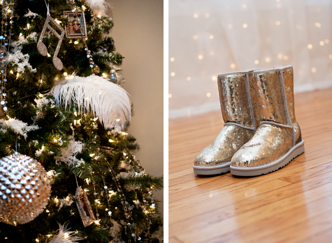 Decorated Christmas Tree Next To Sparkling Boots